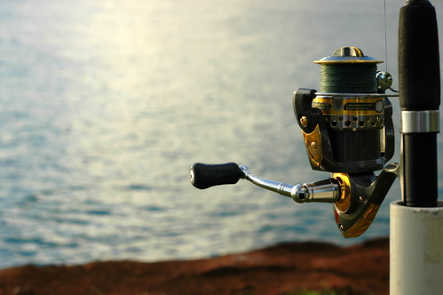 Sports Image of a Close up of a Fishing Reel by the Ocean